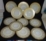 Selb Bavaria Set Of 12 Dinner Plates - Intricate Gold W/ivory And White Background