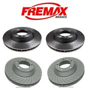 For 911 Gt2 Set Of Front And Rear Vented Drilled Steel Brake Rotors Fremax Kit