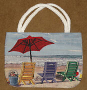 Beachy Keen Beach Chairs And Umbrella Tapestry Tote Bag