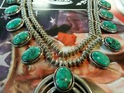 Turquoise Sterling Squash Blossom Necklace 238 Grams 24.5 Inch
