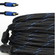 Premium 75ft Hdmi Cable Braided For Bluray 3d Dvd Ps4 Xbox Lcd Blue Hdtv 1080p