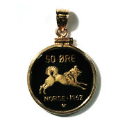 Norway Enameled Jewelry Coin Pendant 50 Ore 1962 Elkhound With Bezel