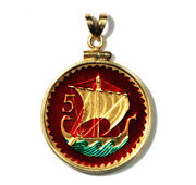 Cyprus Enameled Jewelry Coin Pendant 5 Mils 1963 Ancient Sailing Ship W/bezel