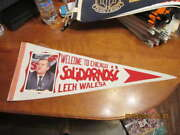 1980's Lech Walesa Solidarity Picture Welcome To Chicago Pennant
