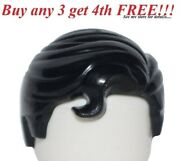 ☀️new Lego Minifig Hair Male Boy Black Swept Right W/ Front Curl City Minifigure
