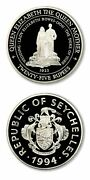 Seychelles The Queen Mother 1923 Royal Wedding 25 Rupees 1994 Proof Silver Crown