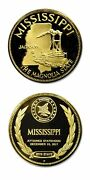 Mississippi The Magnolia State Gold Plated Sterling Silver Proof Medal