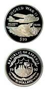 Liberia Wwii West African Campaign 10 Crown Silver Proof