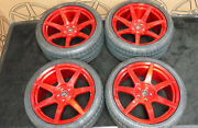 20 Project 6gr7 Candy Red Wheels And Continental Tires Ford Mustang S550 S197