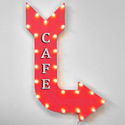 Cafe Rustic Light Up Marquee Arrow Sign Eatery Diner Breakfast Coffee Food Yummm