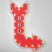 Bbq Barbecue Grill Light Up Metal Marquee Sign Arrow Rustic Hot Wings Hot Dogs