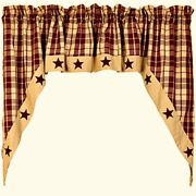 New Primitive Country Farmhouse Tan Wine Burgundy Star Cafe Swags Curtains