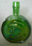 Collectible Wheaton Fdr/franklin D.roosevelt Green Carnival Glass Bottle - U.s.a