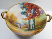 Vtg Nippon Hand Painted Japan Fruit Bowl Footed Handles Fall Nature Trees