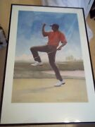 20x30 Framed Matted Tiger Woods In Rare Fist Pump Rendition Artist Signed And Ed