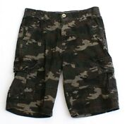 Marc Ecko Green And Brown Camouflage Cargo Shorts Men's Nwt