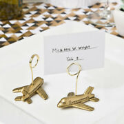 20-200 Gold Airplane Place Card Photo Holders - Travel Theme Wedding Party Favor