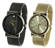 Menand039s Ethan Elite Retro Stainless Steel Ip Gp Mesh Band Round Dress Watch