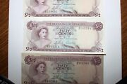 Lot Of Three 3 Fifty Cents 1965 Banknotes From The Bahamas Num2470