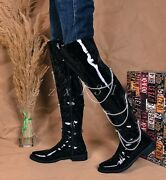 Mens Leather Round Toe Knee High Boots Military Combat Rivet Combat Shoes Size