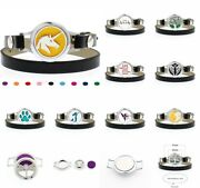 Alloy Aromatherapy Essential Oil Bracelet Leather Wrap Locket Diffuser 10pad New