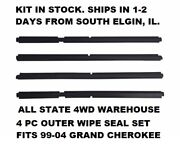 New Outer Window Sweep Dew Wipe Weatherstrip Seal Set For Jeep Grand Cherokee Wj