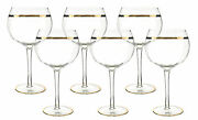 Tall Crystal Wine Glass Set With Gold Trim