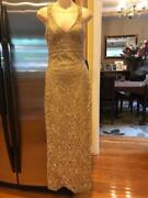 Nwt Sue Wong Bridal Collection Gold Laced Long Dress Gown Size 0 Dr900
