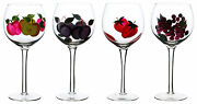 Hand Painted Fruit On Wine Glass Set Of 4