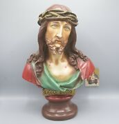 Antique Chalkware French Jesus Christ Crown Of Thorns Bust Head Ecce Homo Rare