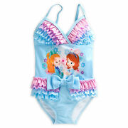 Disney Store Princess Sofia The First One Pc Deluxe Swimsuit Girl Size 4