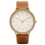 New Skagen Hald Gold Tone, Brown Genuine Leather Band Classic Watch Skw2512