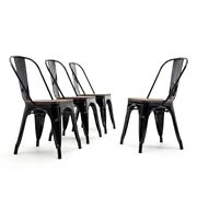 Set Of 4 Dining Chairs With Wooden Seat Stack-able Chair Bistro Lounge Cafe