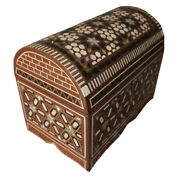 Vintage Moroccan Egyptian Handcrafted Mother Of Pearl Wood Jewelry Box Chest