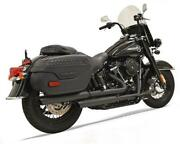 Bassani Black 2 Into 2 Staggered Exhaust System Pipes Mufflers Harley Softail