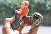Vintage Wind Up Fine Unique Santa Clause Riding Tricycle Tin And Celluloid Toy
