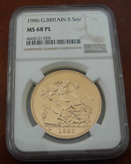 Great Britain 1986 Gold 5 Pounds Sovereigns Ngc Ms68 Proof Like