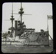 Glass Magic Lantern Slide A Battle Ship C1900 Photo