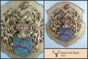 German Wooden Wall Plaque Coat Of Arms Very Fine Detailed Dates 1880-1910