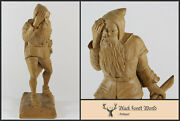Black Forest Hand Carved Wood Gnome With Axe 1920