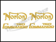 Norton 750 Commando Gold Fuel Tank And Sidepanel Decal Kit Pn 06-2019 06-4880