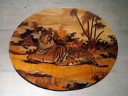 Wood Inlay Wall Plaque Tiger Large Example