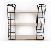 Wall Hanging Wire And Wood Shelf Rack Storage Display Stand Holder Shelving Unit