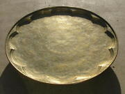 Exceptional Monumental Antique Finely Engraved Heavy Brass Tray 38