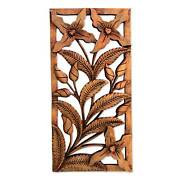 Wild Orchids Hand Carved Suar Wood Relief Panel Sculpture Novica Bali