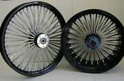 Black Mammoth 52 Fat Spoke Wheels 23x3.5 And 18x10.5 For 300 Tire Harley Choppers