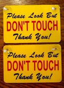2 Please Look But Don't Touch Window Signs W/suction Cups For Your Classic Car