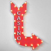 36 Casino Coins Bets Card Games Blackjack Metal Marquee Arrow Light Up Sign