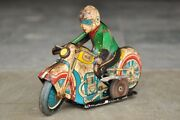 Vintage Wind Up Ms - 702 Litho Racer Motorcycle Tin Toy , Collectible