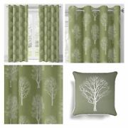 Green Eyelet Curtains Woodland Trees Ready Made Lined Ring Top Curtain Pairs